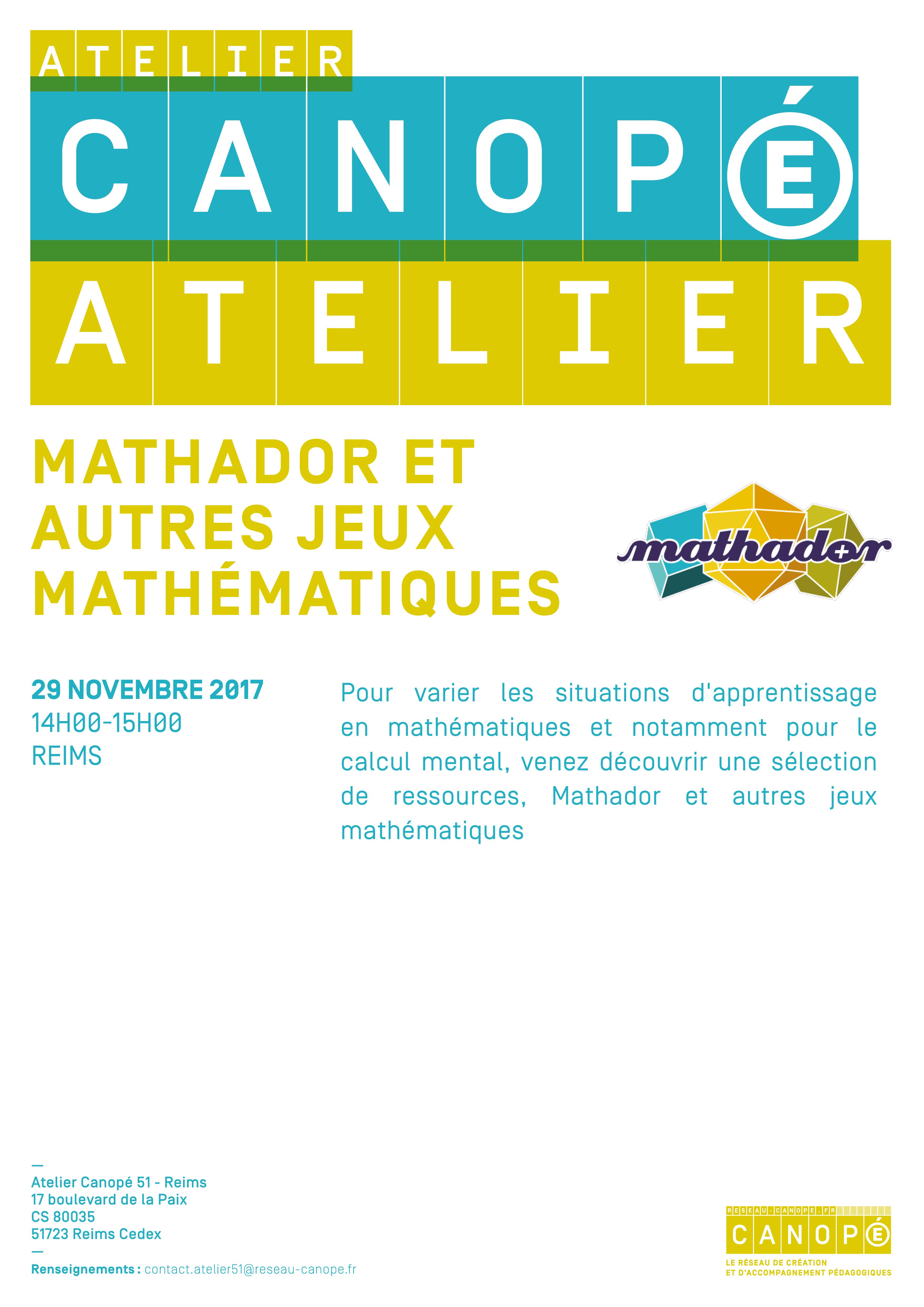 Mathador et autres jeux mathématiques @ Atelier Canopé Reims